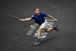 September 21, 2018 - Chicago, Illinois, U.S - DAVID GOFFIN of Belgium reaches to hit a forehand during the third singles match on Day One of the Laver Cup at the United Center in Chicago, Illinois. (Credit Image: © Shelley Lipton/ZUMA Wire)