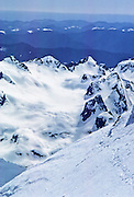 Queets Glacier and Basin (seen from Mt Olympus on May 30, 1982) in Washington, USA. Olympic National Park is a UNESCO World Heritage Site.