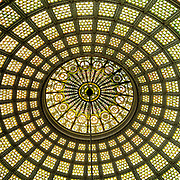 The world's largest Tiffany dome located in the Chicago Cultural Center's Preston Bradley Hall