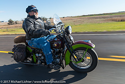 Carl Olsen of Carl's Cycle in Aberdeen riding his 1936 EL Harley-Davidson Knucklehead for the USS South Dakota submarine flag relay near Groton as it crosses South Dakota. USA. Sunday October 8, 2017. Photography ©2017 Michael Lichter.