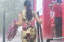 September 24, 2017 - Zhuhai, Guangdong, China - A very heavy rain during the Awards Ceremony of the 2017 Tour of China 2. .On Sunday, 24 September 2017, in Hengqin district, Zhuhai City, Guangdong Province, China. (Credit Image: © Artur Widak/NurPhoto via ZUMA Press)