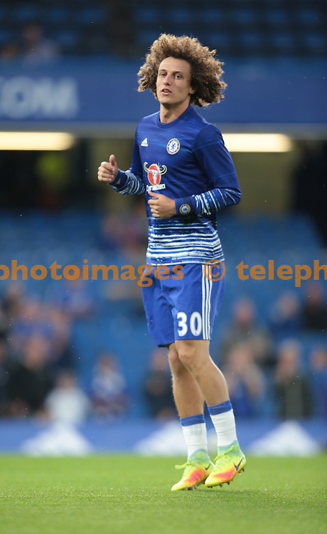 Chelsea's David Luiz during the pre-match warm-up <br /> during the Premier League match between Chelsea and Liverpool at Stamford Bridge in London. September 16, 2016.<br /> James Galvin / Telephoto Images<br /> +44 7967 642437