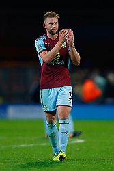 Burnley's Charlie Taylor thanks the travelling fans after the Carabao Cup, Second Round match at Ewood Park, Blackburn.