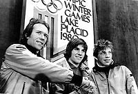 Skøyter<br /> OL 1980<br /> Foto: imago/Digitalsport<br /> NORWAY ONLY<br /> <br /> 16.02.1980  <br /> <br /> Sieger des 5.000-Meter-Eisschnellaufs vor dem Hauptpressezentrum: l-r: Kay Arne Stenshjemmet, Eric Heiden, Tom Erik Oxholm<br /> 5000 meter