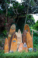 Old surf boards used as decoration on the island of Molokai, Hawaii, USA