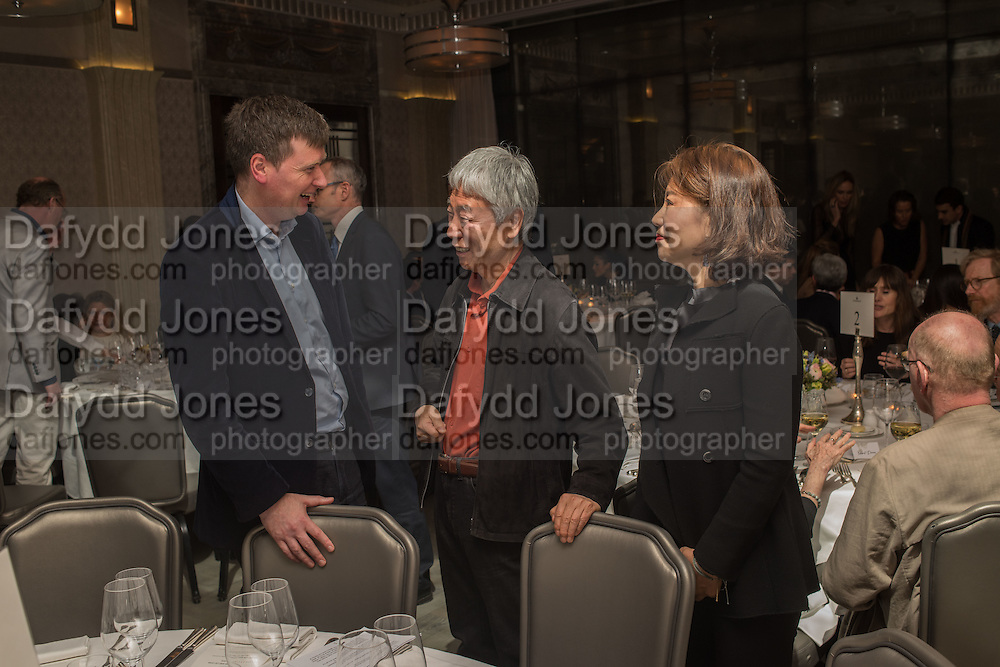LEE UFAN ; ESRA JOO,, Anish Kapoor and Lee Ufan preview dinner hosted by the Lisson Gallery after the opening on Bell St. The Connaught. London. 23 March 2015