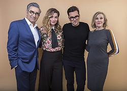 February 23, 2019 - Pasadena, CA, United States - Eugene Levy, from left, Annie Murphy, Daniel Levy and Catherine O'Hara cast members in the Pop TV series ''Schitt's Creek'' pose for a portrait during the 2018 Television Critics Association Winter Press Tour at the Langham Huntington hotel on Sunday, Jan. 14, 2018, in Pasadena, Calif. An ensemble award at the annual ACTRA awards went to the cast of CBC's comedy ''Schitt's Creek,'' starring Eugene Levy, Catherine O'Hara, Dan Levy and Annie Murphy. (Credit Image: © Willy Sanjuan/The Canadian Press via ZUMA Press)