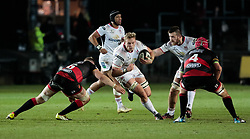 Ulster Rugby's Kieran Treadwell lines up Dragons' Aaron Wainwright<br /> <br /> Photographer Simon King/Replay Images<br /> <br /> Guinness Pro14 Round 10 - Dragons v Ulster - Friday 1st December 2017 - Rodney Parade - Newport<br /> <br /> World Copyright © 2017 Replay Images. All rights reserved. info@replayimages.co.uk - www.replayimages.co.uk