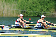 Lucerne, SWITZERLAND.   GBR W2X. Bow Anna WATKINS and Katherine GRAINGER, moving away from the start at the 2012 FISA World Cup II, Lucerne Regatta.  Rotsee Rowing Course,  Friday  25/05/2012  [Mandatory Credit Peter Spurrier/ Intersport Images]