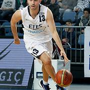 Efes Pilsen's Ender ARSLAN during their Turkish Basketball league match Efes Pilsen between Bornova Belediyespor at the Sinan Erdem Arena in Istanbul Turkey on Saturday 16 April 2011. Photo by TURKPIX