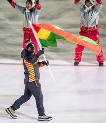09-02-2018 KOR: Olympic Games day -1, PyeongChang<br /> Openingsceremonie Pyeongchang 2018 Olympic Winter Games / Vlaggendrager Akwasi Frimpong GHA