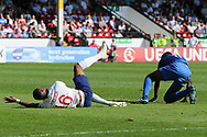 Rayhaan Tulloch of England (16) appeals for a last minute penalty during the UEFA European Under 17 Championship 2018 match between England and Italy at the Banks's Stadium, Walsall, England on 7 May 2018. Picture by Mick Haynes.