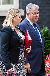 London, October 10 2017. Secretary of State for Culture, Media and Sport Karen Bradley and Minister of State for Immigration Brandon Lewis attend the UK cabinet meeting at Downing Street. © Paul Davey