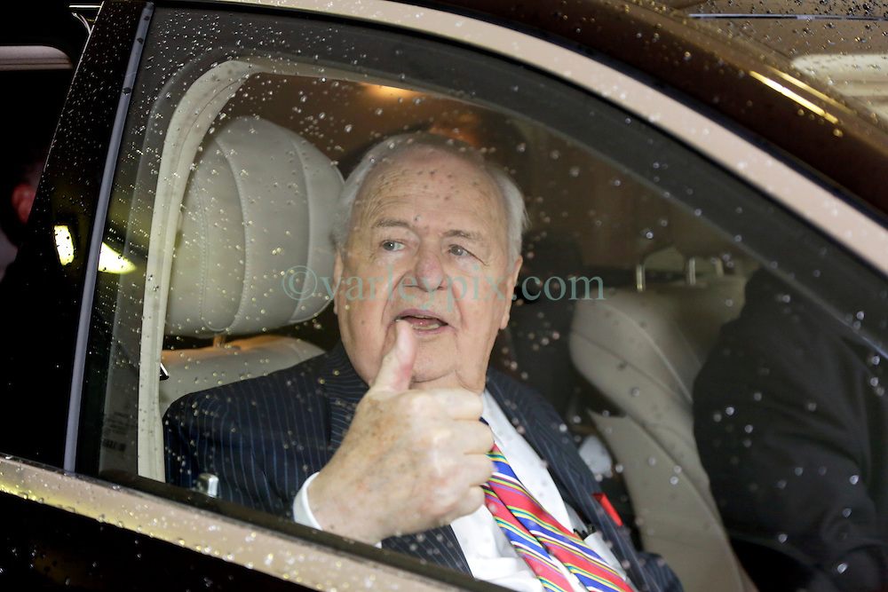 12 June  2015. New Orleans, Louisiana. <br /> A confidant Tom Benson, billionaire owner of the NFL New Orleans Saints, the NBA New Orleans Pelicans, various auto dealerships, banks, property assets and a slew of business interests leaves the New Orleans Civil District Court on the last day of the hearing to determine Benson's level of competency to manage his business empire. Benson changed his succession plans and  decided to leave the bulk of his estate to third wife Gayle, sparking a controversial fight over control of the Benson business empire.<br /> Photo©; Charlie Varley/varleypix.com