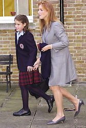 File photo dated 06/09/01 of Princess Eugenie arriving with her mother, the Duchess of York, for her first day at St George's School, Windsor. Buckingham Palace has announced that Princess Eugenie has become engaged to Jack Brooksbank.