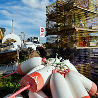 Traps, bouys and tools of the lobster trade in Owl's Head, Maine.