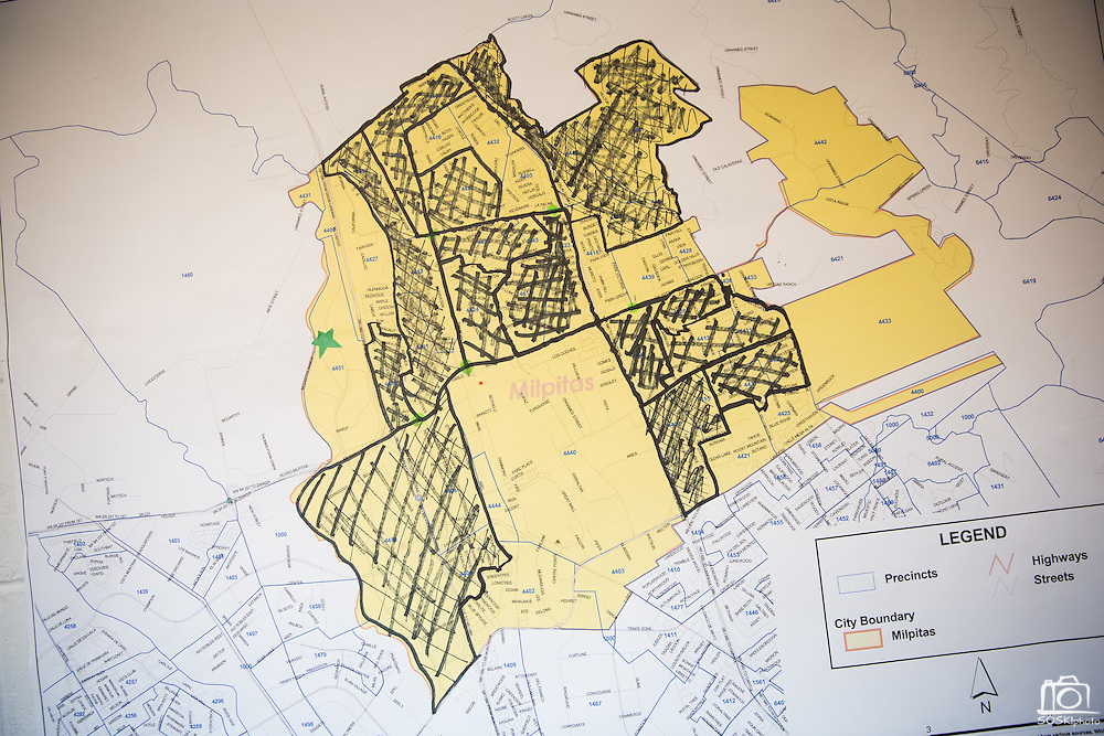A map of Milpitas is marked from door-to-door campaign efforts by Yes On Measure E supporters in Milpitas, California, on November 4, 2014. (Stan Olszewski/SOSKIphoto)