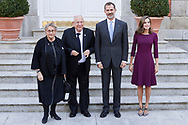 King Felipe VI of Spain, Queen Letizia of Spain-, Reuven Rivlinm, Nechama Rivlin attended an official lunch at Palacio de la Zarzuela on November 6, 2017 in Madrid, Spain.