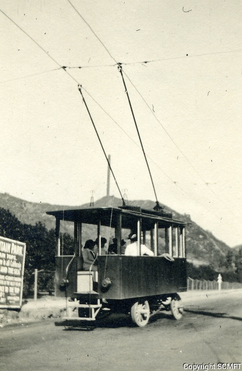 1913 Trackless trolley going up Laurel Canyon