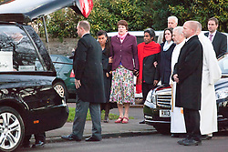 © Licensed to London News Pictures. 19/12/2014. Bristol, Avon, UK. The family of Charlotte and Zaani Tiana Bevan attending their funeral. The mother and daughter who were found dead in Avon Gorge after leaving a St. Michael's Hospital in Bristol on 2nd December 2014. Photo credit : Rob Arnold/LNP