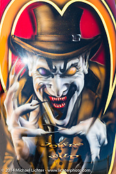 The Joker on a tank at the Boardwalk Bike Show during Biketoberfest, Daytona Beach, FL, October 17, 2014, photographed by Michael Lichter. ©2014 Michael Lichter