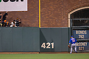 Chicago Cubs second baseman Ben Zobrist (18) chases down a triple hit by San Francisco Giants center fielder Denard Span (2) during Game 3 of the NLDS at AT&T Park in San Francisco, Calif., on October 10, 2016. (Stan Olszewski/Special to S.F. Examiner)