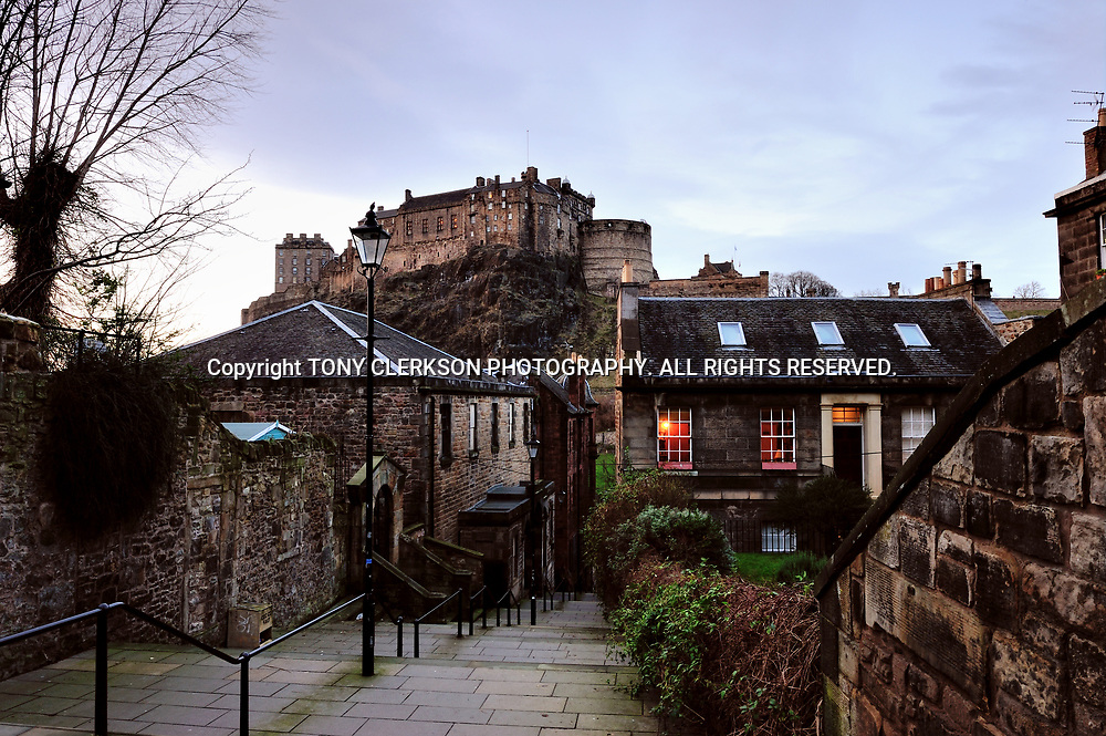 The Vennel off The Grassmarket, with a view up to Edinburgh Castle.