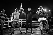 Ultimate bare-Knuckle boxing competition at Manchester's Bowlers Exhibition Centre, Old Trafford, Manchester, UK.<br /> Photo shows Luka Curri (topless) who won his fight against Martyn Cavna (t-shirt).<br /> Photo ©Steve Forrest/Workers' Photo