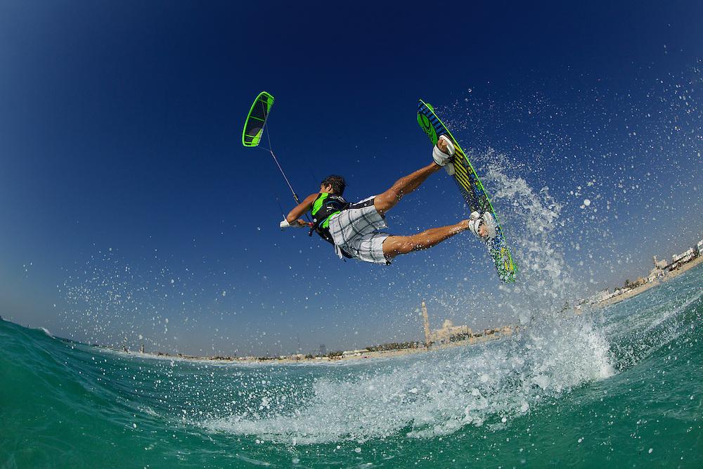 Sean Powell operating Cabrinha 2012 gear at Kite Beach, Dubai, United Arab Emirates