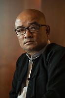"""19 JUN 2012, BERLIN/GERMANY:<br /> Maung Thura """"Zarganar"""",  Comedian, Komoediant, Film- und Fernsehschauspieler, Filmregisseur burmesischer Sprache und  Kritiker des Militaerregimes in Burma/Myanmar, waehrend einem Pressegespraech, Hotel Melia<br /> IMAGE: 20120619-01-041<br /> KEYWORDS Regimekritiker"""
