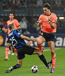 20-04-2010 VOETBAL: INTER MILAAN - FC BARCELONA: MILAAN<br /> Inter wint de eerste wedstrijd van de halve finale Champions League met 3-1 van Barcelona / WALTER SAMUEL, ZLATAN IBRAHIMOVIC<br /> ©2010-FRH-nph / Andrea Staccioli