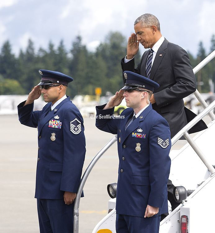 President Obama arrives at Sea-Tac on Friday, June 24, 2016 on Air Force One. (Mike Siegel / The Seattle Times)