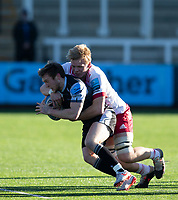 Rugby Union - 2020 / 2021 Gallagher Premiership - Round 11 - Newcastle Falcons vs Harlequins - Kingston Park<br /> <br /> Brett Connon of Newcastle Falcons is tackled by Hugh Tizard of Harlequins<br /> <br /> Credit: COLORSPORT/BRUCE WHITE