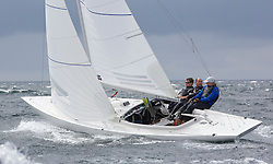 International Dragon Class Edinburgh Cup 2015.<br /> <br /> The first days racing in a strong southerly.<br /> GBR795, EXCITE, Tom Vernon<br /> <br /> <br /> Credit Marc Turner