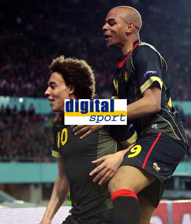 Fotball<br /> EM-kvalifisering<br /> Østerrike v Belgia<br /> 25.03.2011<br /> Foto: Gepa/Digitalsport<br /> NORWAY ONLY<br /> <br /> Bild zeigt den Jubel von Axel Witsel und Marvin Ogunjimi (BEL)