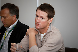 McLain Ward (USA) and Ober Tim (USA) Veterinarian of the USA team<br /> Pressconference concerning disqualification of McLain Ward's horse Sapphire due to a positive Hypersensitivity test after the second competion of the Rolex FEI World Cup Final - Geneve 2010<br /> also in this picture Jan Tops, Michael Withaker<br /> © Dirk Caremans