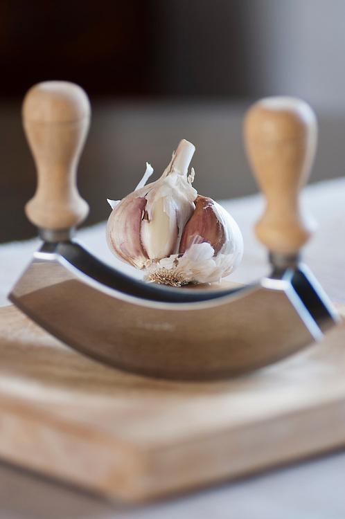 Garlic bulb and cutter.