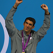 Michael Phelps, USA, during his historic Men's 4X 200m Relay swim which the USA won gold with team mates Ryan Lochte, Conor Dwyer and Ricky Berens. Phelps became the most Medal winning Olympian with nineteen at the Aquatic Centre at Olympic Park, Stratford during the London 2012 Olympic games. London, UK. 31st July 2012. Photo Tim Clayton