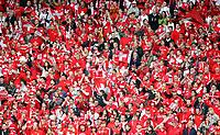 GEPA-0706086072 - BASEL,SCHWEIZ,07.JUN.08 - FUSSBALL - UEFA Europameisterschaft, EURO 2008, Schweiz vs Tschechien, SUI vs CZE. Bild zeigt schweizer Fans. Keyword: Fahne, Schal, Tribuene.<br />Foto: GEPA pictures/ Philipp Schalber