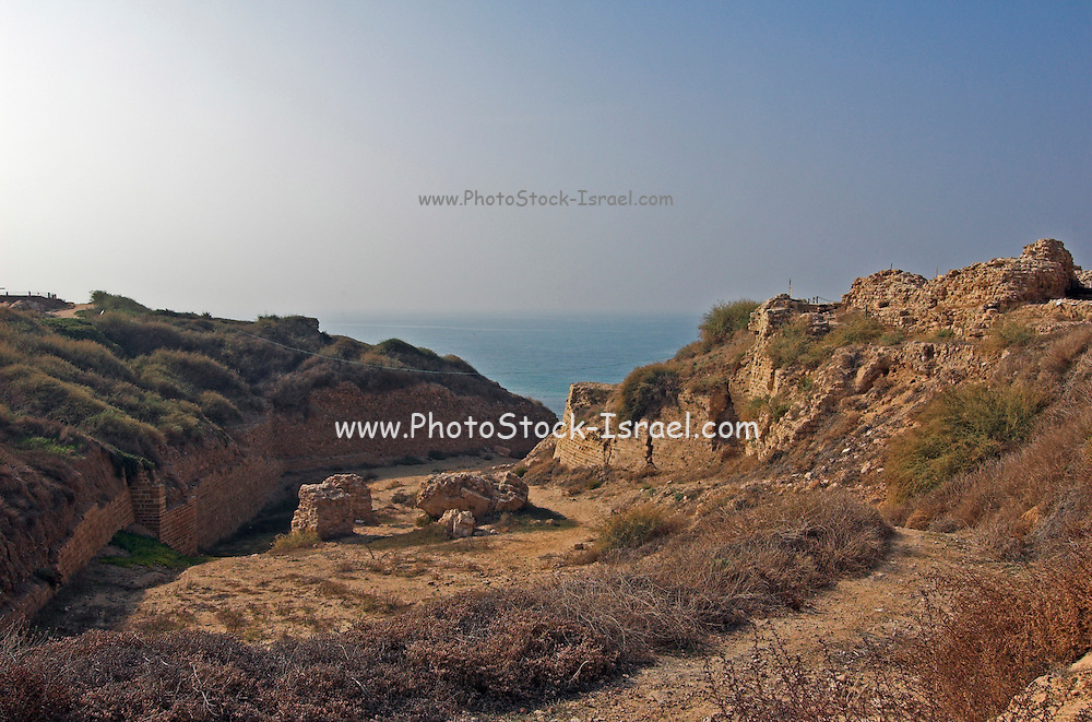 The dry moat of Apolonia, Arsuf, Herzelia, Israel<br /> Apollonia is an archaeological park containing the ruins of the Crusade city, fort and port on the Mediterranean Sea, In 1101 it fell to the Crusaders who named the place Lordship of Arsur in the Kingdom of Jerusalem