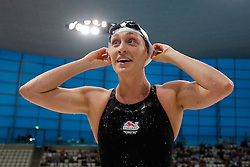 Elizabeth Simmonds of Bath University celebrates after winning the Womens 100m Backstroke Final - Photo mandatory by-line: Rogan Thomson/JMP - 07966 386802 - 16/04/2015 - SPORT - SWIMMING - The London Aquatics Centre, England - Day 3 - British Swimming Championships 2015.