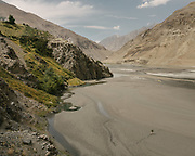 View over the Wakhan river. The traditional life of the Wakhi people, in the Wakhan corridor, amongst the Pamir mountains.