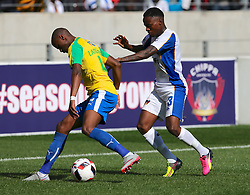 Tebogo Langerman of Mamelodi Sundowns (L) and Thembinkosi Lorch of Chippa United during the 1st leg of the MTN8 Semi Final between Chippa United and Mamelodi Sundowns held at the Nelson Mandela Bay Stadium in Port Elizabeth, South Africa on the 11th September 2016<br /><br />Photo by: Richard Huggard / Real Time Images