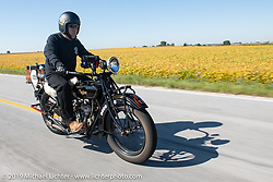 James Maloney riding his 1928 Indian Scout in the Motorcycle Cannonball coast to coast vintage run. Stage 6 (260 miles) from Bourbonnais, IL to Cedar Rapids, IA. Thursday September 13, 2018. Photography ©2018 Michael Lichter.