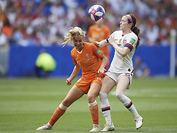 July 7, 2019 - Lyon, France - Jackie Groenen (FFC Frankfurt) of Netherlands and Rose Lavelle (Washington Spirit) of United States competes for the ball during the 2019 FIFA Women's World Cup France Final match between The United State of America and The Netherlands at Stade de Lyon on July 7, 2019 in Lyon, France. (Credit Image: © Jose Breton/NurPhoto via ZUMA Press)
