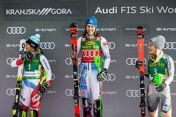 Wendy Holdener (SUI), Nina Haver Loeseth (NOR) celebrating after the Ladies' Slalom at 56th Golden Fox event at Audi FIS Ski World Cup 2019/20, on February 16, 2020 in Podkoren, Kranjska Gora, Slovenia. Photo by Matic Ritonja / Sportida