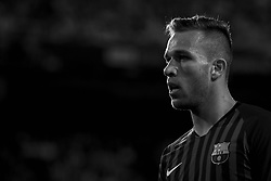 October 8, 2018 - Valencia, Valencia, Spain - Arthur Melo during the week 8 of La Liga match between Valencia CF and FC Barcelona at Mestalla Stadium in Valencia, Spain on October 7, 2018. .(Editors note: this image has been converted to black and white) (Credit Image: © Jose Breton/NurPhoto/ZUMA Press)