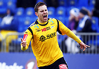 Fotball , 9. april 2012 , Adeccoligaen , 1. divisjon , Sarpsborg - Start 4-4<br /> <br /> Matthias Vilhjalmsson, Start jubler for scoring