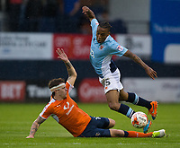 Blackpool's Neil Danns is fouled by Luton Town's Glen Rea<br /> <br /> Photographer Craig Mercer/CameraSport<br /> <br /> The EFL Sky Bet League Two Play-Off Semi Final Second Leg - Luton Town v Blackpool - Thursday 18th May 2017 - Kenilworth Road - Luton<br /> <br /> World Copyright © 2017 CameraSport. All rights reserved. 43 Linden Ave. Countesthorpe. Leicester. England. LE8 5PG - Tel: +44 (0) 116 277 4147 - admin@camerasport.com - www.camerasport.com