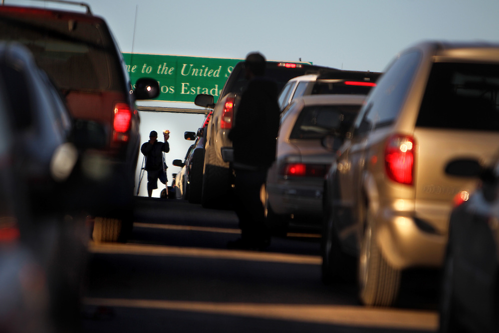 A vendor sells snack foods on the Paso del Norte International Bridge leading from Ciudad Juarez in Mexico to El Paso, Texas, Thursday February 4, 2010.  Many residents of Ciudad Juarez who have the paperwork and can afford to are moving to El Paso due to increasing violence on the Mexican side of the border.